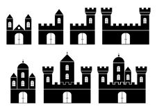 Black Silhouettes Of Castles Royalty Free Stock Images