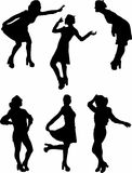 Black silhouettes of people on a white background. Black elegant silhouettes of people on a white background Stock Photography
