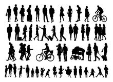 Black silhouettes 56 pips. Over fifty people black silhouettes on white background. Vector illustration Royalty Free Stock Image