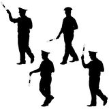 Black silhouettes of Police officer  with a rod on Royalty Free Stock Photography