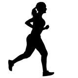 Black Silhouettes Runners sprint women on white background Stock Image