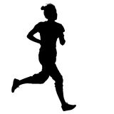 Black Silhouettes Runners sprint women on white background Royalty Free Stock Photos