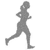 Black Silhouettes Runners sprint women on white background Royalty Free Stock Photography