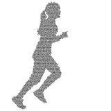 Black Silhouettes Runners sprint women on white background Stock Photo