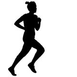 Black Silhouettes Runners sprint women on white background Stock Images