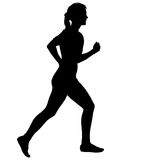 Black Silhouettes Runners sprint women on white background Royalty Free Stock Photo