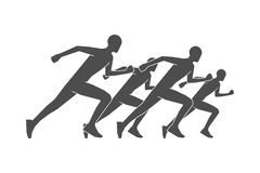 Black silhouettes of runners. Vector figures athletes running. Line running symbol. Vector running and marathon logo Stock Image