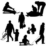 Black silhouettes set people and children with a Royalty Free Stock Photos