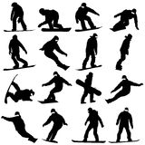 Black silhouettes set snowboarders on white Stock Image