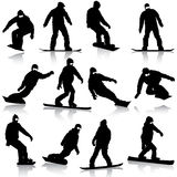 Black silhouettes set snowboarders on white Royalty Free Stock Photos