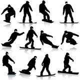 Black silhouettes set snowboarders on white Royalty Free Stock Photos