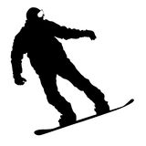Black silhouettes  snowboarders on white background. Vector illu Royalty Free Stock Photo