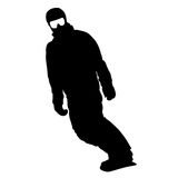 Black silhouettes  snowboarders on white background. Vector illu Royalty Free Stock Photography