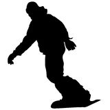 Black silhouettes snowboarders on white background. Vector illu Royalty Free Stock Image