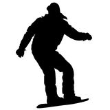 Black silhouettes snowboarders on white background. Vector illu Stock Images