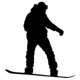 Black silhouettes snowboarders on white background. Vector illu Royalty Free Stock Photos