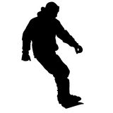 Black silhouettes snowboarders on white background. Vector illu Stock Photos