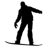 Black silhouettes snowboarders on white background. Vector illu Stock Image