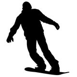 Black silhouettes snowboarders on white background. Royalty Free Stock Images
