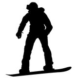Black silhouettes snowboarders on white background.  Royalty Free Stock Photography