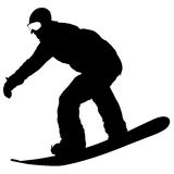 Black silhouettes snowboarders on white background. Vector illustration Royalty Free Stock Image