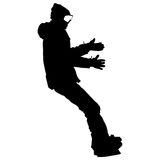 Black silhouettes snowboarders on white background. Vector illustration Stock Photography
