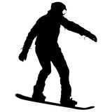 Black silhouettes snowboarders on white background. Vector illustration Stock Image