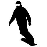 Black silhouettes snowboarders on white background. Vector illustration Stock Photos