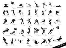 black silhouettes sportsligt Royaltyfri Fotografi