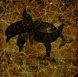 Black silhouettes of three decorated dolphins on grunge textured background. Esoteric, occult, new age and wicca concept, fantasy pattern with mystic symbols and stock illustration