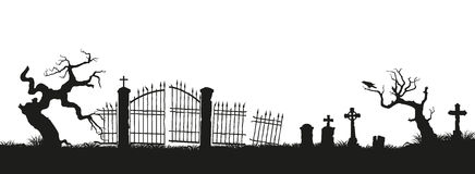 Black silhouettes of tombstones, crosses and gravestones. Elements of cemetery. Graveyard panorama. Vector illustration Stock Image