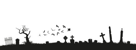 Black silhouettes of tombstones, crosses and gravestones. Elements of cemetery. Graveyard panorama. Vector illustration Stock Photography