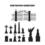 Black silhouettes of tombstones, crosses and gravestones. Elements of cemetery Royalty Free Stock Image