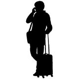Black silhouettes travelers with suitcases on white background. Royalty Free Stock Photos