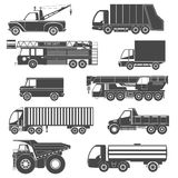Black Silhouettes Truck Icons Royalty Free Stock Photography