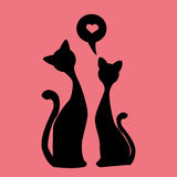 Black silhouettes of Two lovely kittens, vector Stock Photo