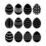 Black silhouettes of vector easter eggs Stock Photo