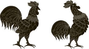 Black silhouettes with white ornaments of a rooster stands and the rooster crows. Vector illustration Stock Image