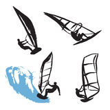 Black silhouettes of windsurfing man Stock Photography
