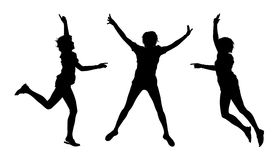 Jumping summer girls silhouettes. 3 black silhouettes of young women jumping in joy Vector Illustration