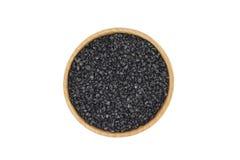 Black silicon carbide powder in a wooden bowl Royalty Free Stock Photo