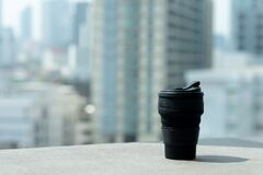 Black silicone coffee cup in coffee cafe