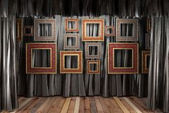 Black silk curtain with frames Stock Image