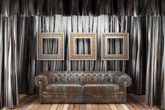 Black silk curtain with frames Stock Photo