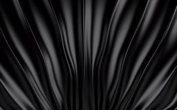 Black silk drapery and fabric background. 3d render. Ing Royalty Free Stock Photography