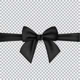 Black silk ribbons and bow isolated on a transparent background royalty free illustration