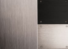 Black and silver brushed metal panels Stock Images