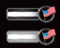 Black and silver checkered tabs with american flag Stock Photos