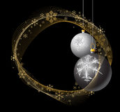 Black and Silver Christmas bulbs. With golden snowflakes Royalty Free Stock Images