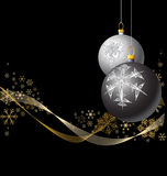 Black and Silver Christmas bulbs Stock Photos
